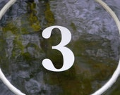 1 x White Transom or Fanlight House Numbers No Sahdow