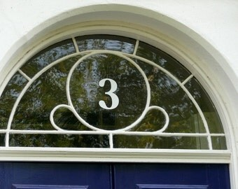 2 x White Transom or Fanlight House Numbers No Sahdow