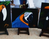 Tropical Bird Pair Original Paintings Blue & Gold Macaw and Toucan - Last day at this SALE price
