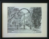 University of Georgia Arch near Downtown in Athens, Georgia Original Pencil Drawing - Last day at this SALE price