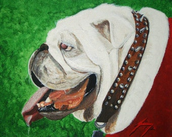 UGA Dawg  on Green Background 11 X 14 Framed Print - Last day at this SALE price