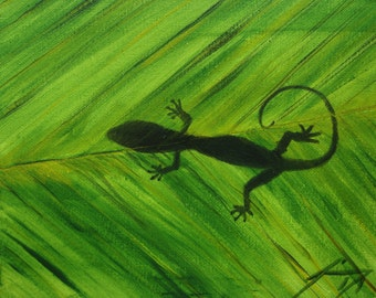 Shadow of a Lizard on Leaf  - Original Framed Painting - Last 3 days at this SALE price