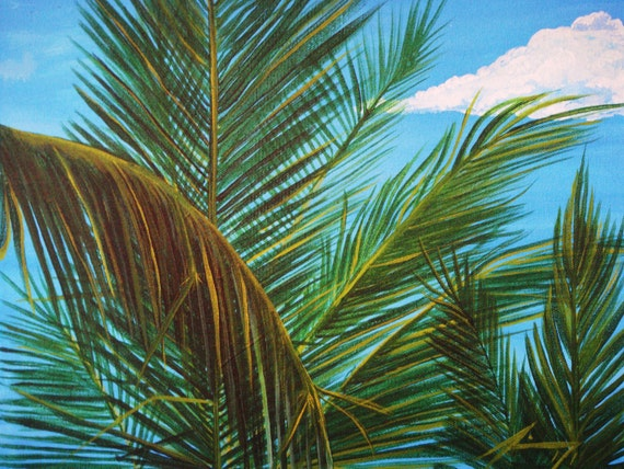 Palms at Hemingway's on Provo in the Turks and Caicos Islands TCI Original Painting - Last week at this SALE price