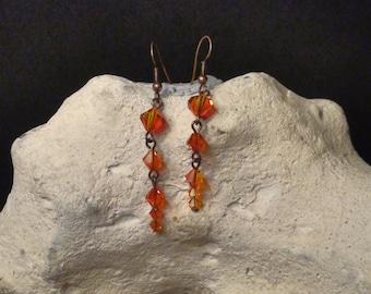 New Line - Unique Amber Sunset Dangle Earrings