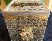 Vintage Gold & Silver Metal Tissue Kleenex Box Cover
