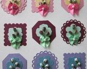 9 Piece Mulberry Paper Rosebud Embellishment Assortment