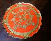 Vintage Red/Orange Round Florentine Tray