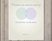 Whatever our souls are made of, his and mine are the same.  Emily Bronte Quote - Print - 11 x 14 - Cute wedding gift or shower present