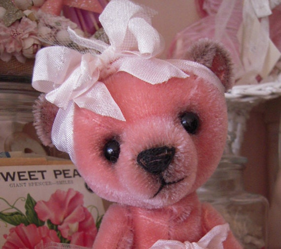 SALE Lucy - Pink Mohair Bear w/Silly Smile