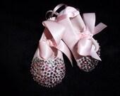 Girls Pink Ballet Flat w/ Swarovski Rhinestone Embellishments