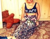 Vintage Flower Long Granny Skirt