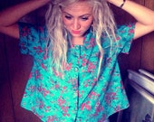 CUTE 40's inspired Blue Flower Vintage Shirt Size M