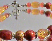BEACH SUNSET Orange, Yellow & Silver White Crystal Rondelle Spacers Glass Bead Bracelet