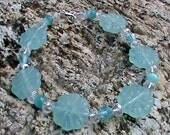 CALYPSO BREEZE Aqua, White & Silver Glass Bead Bracelet