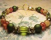 NATURE WALK Green, Gold, Brown & Cream Glass Bead Bracelet