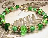 BELLS OF IRELAND Green, Brown & Gold Glass Bead Bracelet