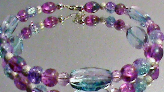 Clearance - EVENING SKY Lavender, Turquoise and Silver Glass Bead Bracelet - 50% off