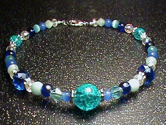 RESERVED for Tammy SUMMER BREEZE Blue, Turquoise, Seafoam Green, White & Silver Glass Bead Ankle Bracelet