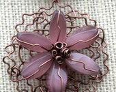 Knitted Wire Amethyst Glass Flower Pendant as seen at 2012  Golden Globes - Denise