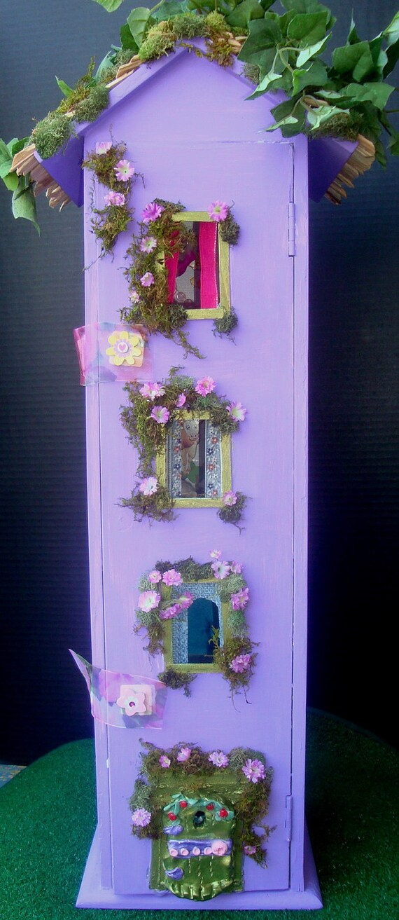 "Enchanting Four Floors Fairy House...... Purple Fairy Fantasy.....OOAK.....Fully Furnished.....25"" HIGH"