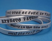 Personalized Custom Hand Stamped on ONE SIDE 1/4 inch Aluminum Cuff Bracelet