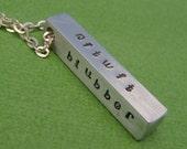 CUSTOM Hand Stamped Aluminum Bar Necklace