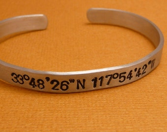 Personalized - Latitude & Longitude -Custom Hand Stamped Bracelet in Aluminum or Sterling Silver