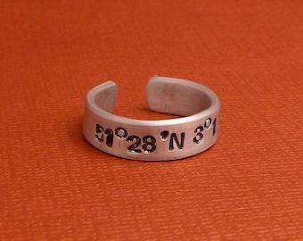 """Latitude & Longitude Custom Hand Stamped 1/4"""" Aluminum Ring"""