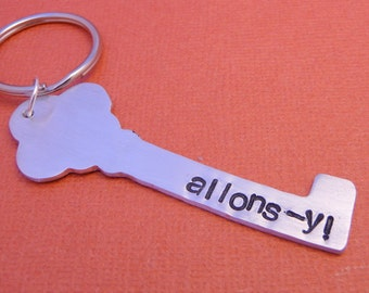 Allons-y - Hand Stamped Aluminum Keychain