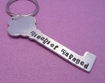Mischief Managed  - A Hand Stamped Aluminum Keychain