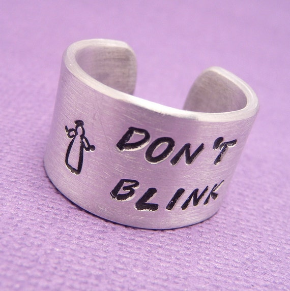 Don't Blink - A Hand Stamped Aluminum Ring