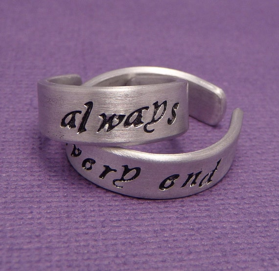 Always & Until The Very End - A Pair of Hand Stamped Aluminum Rings