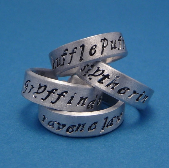 Harry Potter Inspired - Choose ONE - Gryffindor, Slytherin, Hufflepuff, and Ravenclaw - A Hand Stamped Aluminum Ring
