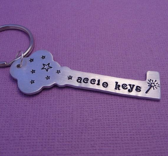 Accio Keys - A Hand Stamped Aluminum Keychain