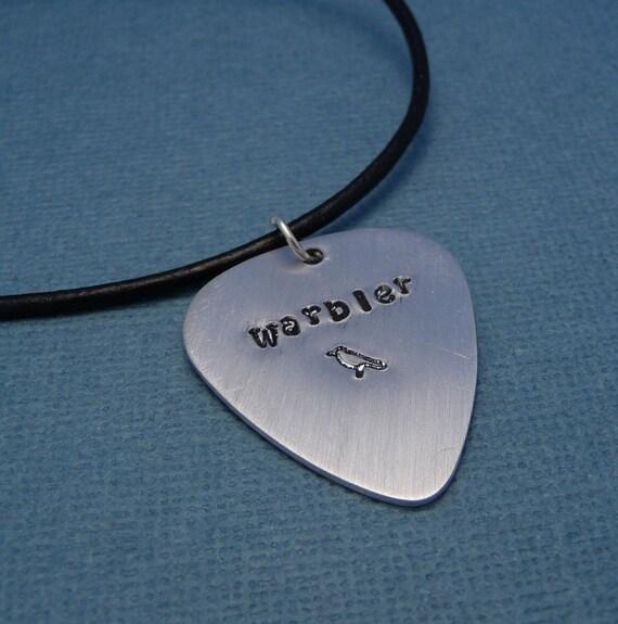 Warbler - A Hand Stamped Aluminum Guitar Pick Necklace
