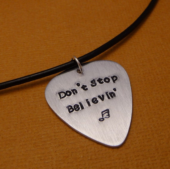 Charity Series - Don't Stop Believin' - A Hand Stamped Aluminum Guitar Pick Necklace