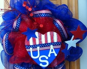 RESERVED for NANCY: Large Patriotic Deco Mesh Wreath USA Red White and Blue