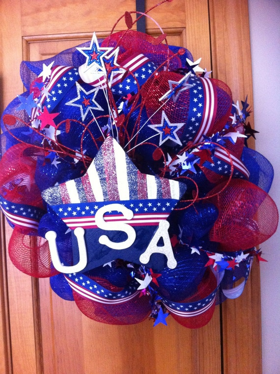 RESERVED for NANCY: Patriotic Mesh Wreath Red White and Blue 4th of July Stars & Stripes