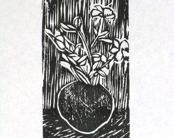 Vase Original Woodcut Print Limited Edition 6/125 Woodblock on acid free Speedball printmaking paper
