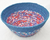 Recycled coiled basket/bowl - blue/red/white