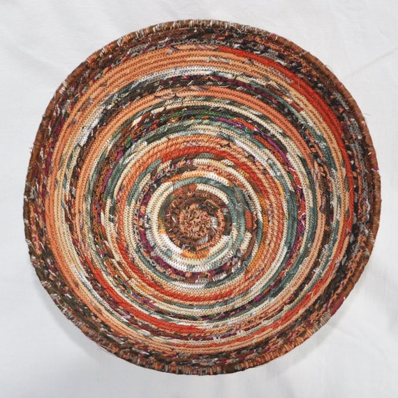 Recycled coiled basket/bowl - autumn