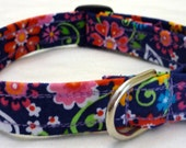 Multi-Color Floral on Blue Small Collar