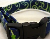 Navy and Green Vine design collar- Small