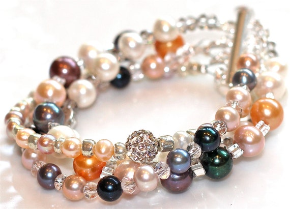 Fizz Candy Signature Multistrand Pearl Bracelet Silver Purple Orange Green Sparkle Rhinestone Fizz Candy