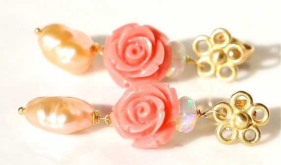 Reserved for SC Only Carved Coral Earrings Upcycled Eco Jewelry Ethiopian Opal Blush Pearl 14K Gold Flower