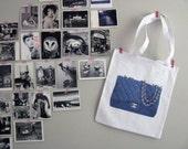 Dark blue Chanel-bag print on a linen shoppingbag silver chain Coco Karl Lagerfeld diaper bag Paris haute couture high fashion tote