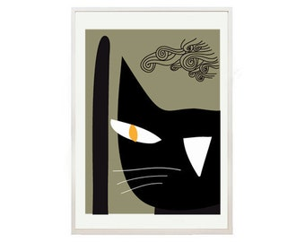 Black cat with yellow eyes / black cat / Cat poster 4 - Black cat poster art print by nicemiceforyou