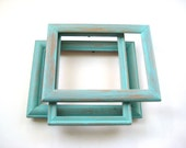 3 Turquoise Picture Frames - Shabby Chic Distressed - 5x7 Photo Frames