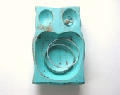 Turquoise Owl - Vintage Shabby Chic - Upcycled Storage Bowl