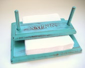 Turquoise Napkin Holder - Shabby Chic Distressed - Kitchen Decor